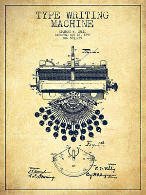 Keyboards Digital Art - Type Writing Machine Patent Drawing From 1897 - Vintage by Aged Pixel