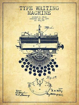Typewriter Digital Art - Type Writing Machine Patent Drawing From 1897 - Vintage by Aged Pixel