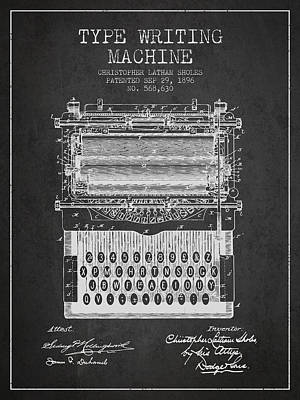 Type Writing Machine Patent From 1896 - Charcoal Art Print