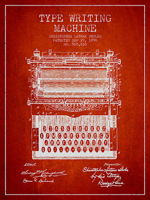 Lovely Lavender - Type Writing Machine patent from 1896 - Red by Aged Pixel