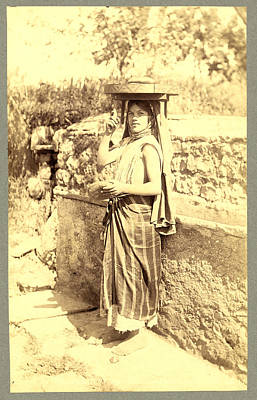 Berber Woman Photograph - Types Algerians Young Girl Bread Market, Neurdein Brothers by Litz Collection