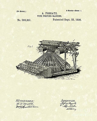 Drawing - Typewriter 1896 Patent Art by Prior Art Design