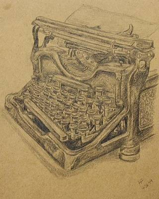 Typewriter Keys Drawing - Typewriter by Amanda Fosnight