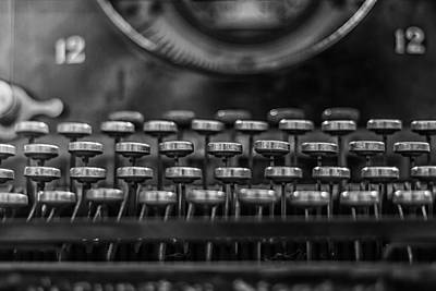 Remington Photograph - Typewriter Keys In Black And White by Georgia Fowler
