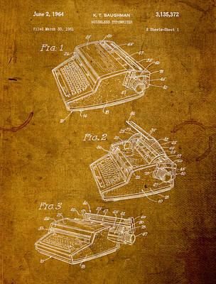 Typewriter Wall Art - Mixed Media - Typewriter Vintage Patent On Worn Canvas by Design Turnpike