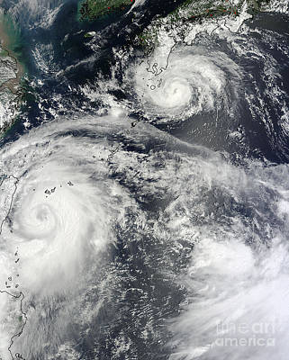 Photograph - Typhoons Saola And Damrey by Science Source