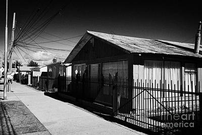typical chilean construction house with metal tin roof las naciones Punta Arenas Chile Art Print by Joe Fox