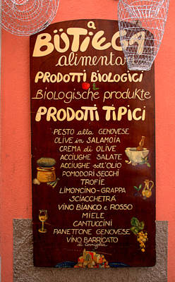 Photograph - Typical Products In Cinque Terre by Caroline Stella