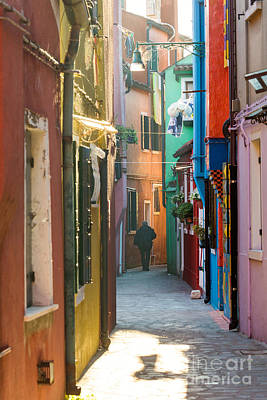 Typical Street With Colorful Houses In Burano - Venice Art Print