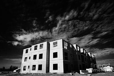 typical timber framed condominium block construction with sheet panels Saskatchewan Canada Art Print