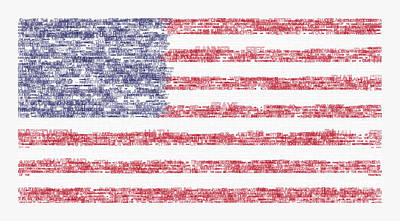 Waving Flag Mixed Media - Star Spangled Banner Typography Us Flag by Celestial Images