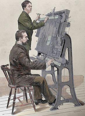 Nineteenth Century Photograph - Typographic Composing New Machine by Prisma Archivo