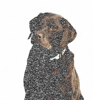 Typographic Painting - Typographic Dog  by Celestial Images