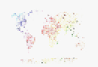 Liberty Painting - Typographic World Map by Celestial Images
