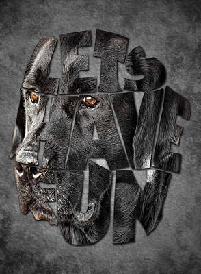 Retrievers Digital Art - Typography Artwork Labrador Retriever by Costinel Floricel