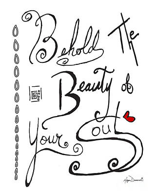 Joyful Drawing - Typography Black And White Word Art Unique And Whimsical Drawing By Megan Duncanson by Megan Duncanson