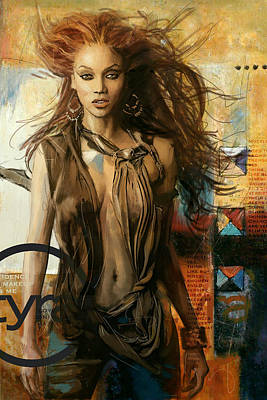 Television Painting - Tyra Banks by Corporate Art Task Force