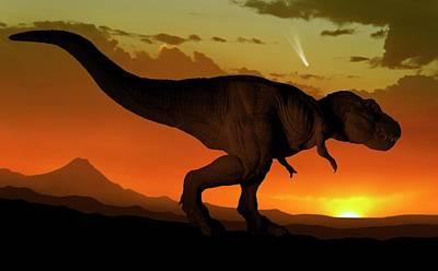 Tyrannosaurus And Comet Art Print