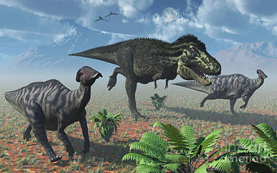 Animals Digital Art - Tyrannosaurus Rex Attacking A Herd by Mark Stevenson