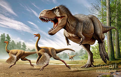 Ostrich Digital Art - Tyrannosaurus Rex Attacking Two by Mohamad Haghani