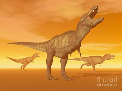Tyrannosaurus Rex Dinosaurs In An Art Print by Elena Duvernay