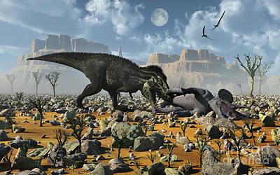 Triassic Digital Art - Tyrannosaurus Rex Feeding by Mark Stevenson