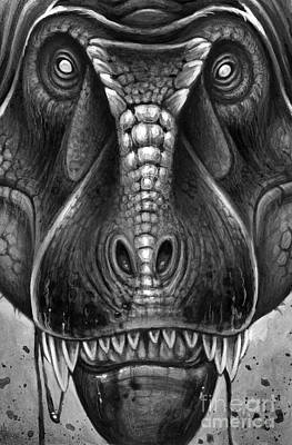 Looking At Camera Digital Art - Tyrannosaurus Rex In Black And White by H. Kyoht Luterman