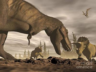 Tyrannosaurus Rex Roaring At Two Art Print