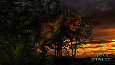 Anger Digital Art - Tyranosaurus Rex Emerging From A Forest by Philip Brownlow