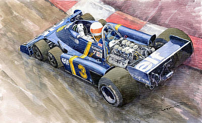 Watercolor Sports Painting - Tyrrell Ford Elf P34 F1 1976 Monaco Gp Jody Scheckter by Yuriy  Shevchuk