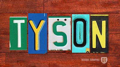 Mixed Media - Tyson License Plate Name Sign Fun Kid Room Decor by Design Turnpike