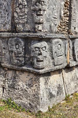 Sacrificial Art Photograph - Tzompantli Or Platform Of The Skulls At Chichen Itza by Bryan Mullennix