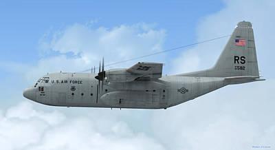 Warbird Mixed Media - U. S. Air Force C-130 Hercules by Walter Colvin
