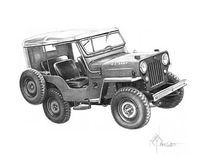 Jeep Drawing - U S Army Jeep by Murphy Elliott
