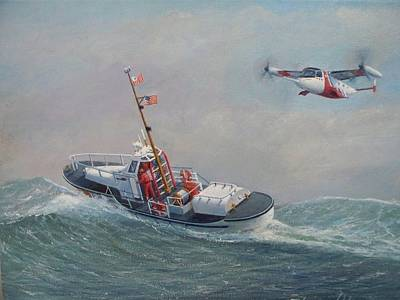 U. S. Coast Guard 44ft Motor Lifeboat And Tilt-motor Aircraft  Art Print by William H RaVell III