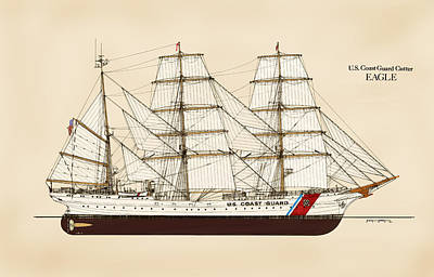 Sailing Ships Drawing - U. S. Coast Guard Cutter Eagle - Color by Jerry McElroy - Public Domain Image