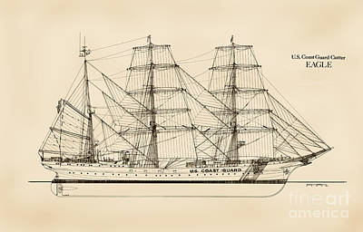 Coast Guard Drawing - U. S. Coast Guard Cutter Eagle - Sepia by Jerry McElroy - Public Domain Image