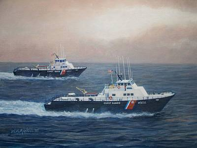 Seacape Painting - U. S. Coast Guard Surface Effects Ships Sea Sea Hawk And Shearwater  by William H RaVell III