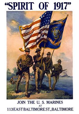 U. S. Marines Spirit Of 1917 Art Print by Daniel Hagerman