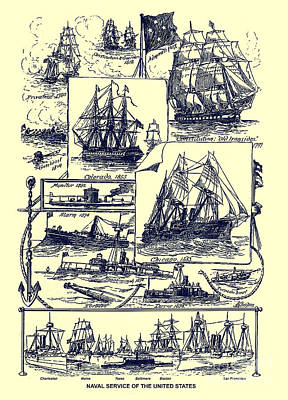 Photograph - U. S. Navy Historic Ships From An 1891 U. S. Travel Handbook by Phil Cardamone