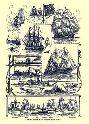 Photograph - U. S. Navy Historic Ships From An 1891 U. S. Travel Handbook by Phil Cardamone