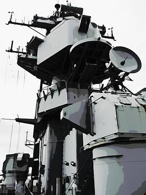 Admiral Digital Art - U S S Missouri Command Tower by Daniel Hagerman