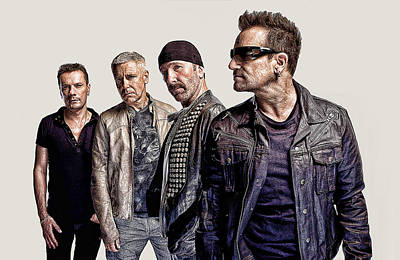 Irish Rock Band Digital Art - U2 Goup by Galeria Zullian  Trompiz