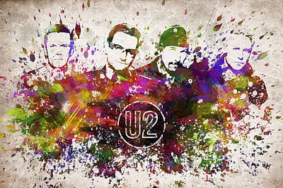 Musicians Digital Art Rights Managed Images - U2 in Color Royalty-Free Image by Aged Pixel