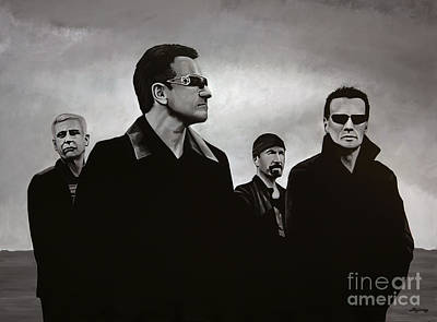 Rock Stars Painting - U2 by Paul Meijering