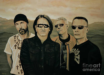 Irish Rock Band Painting - U2 Silver And Gold by Paul Meijering