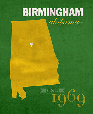 Uab University Of Alabama At Birmingham Blazers College Town State Map Poster Series No 009  Art Print by Design Turnpike