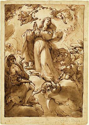 Immaculate Drawing - Ubaldo Gandolfi, Italian 1728-1781, The Virgin by Litz Collection