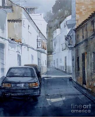 Watercolor Painting - Ubrique Cadiz Spain by Paez De Pruna