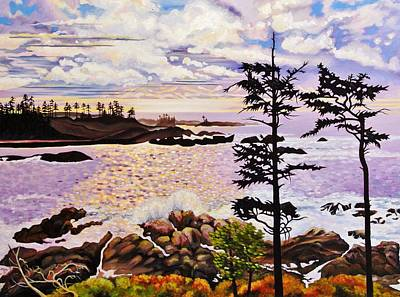 Rocks. Tidal Pool Painting - Ucluelet In December by Elissa Anthony